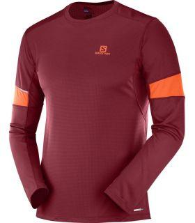 Camiseta running Salomon Agile LS Hombre Rojo Biking. Oferta y Comprar online