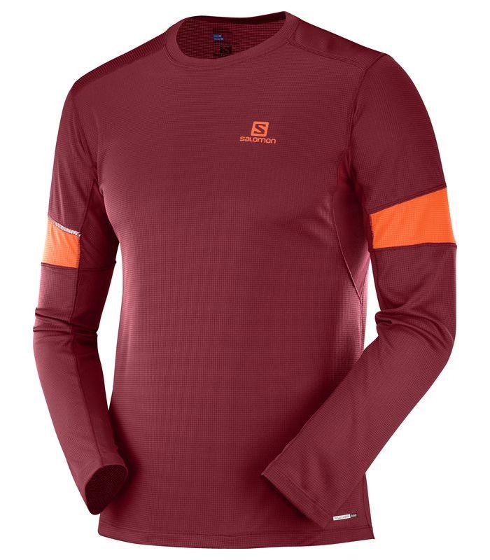 Compra online Camiseta running Salomon Agile LS Hombre Rojo Biking en oferta al mejor precio