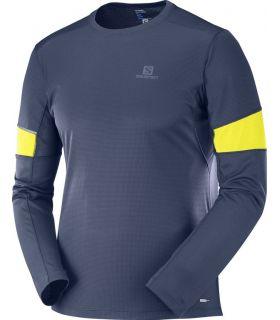 Camiseta running Salomon Agile LS Hombre Azul Noche