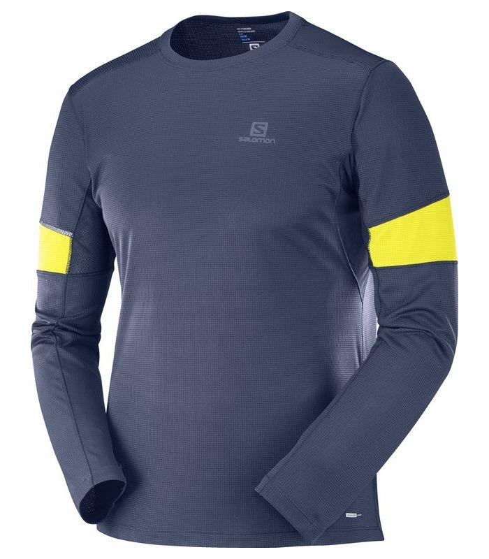 Compra online Camiseta Salomon Agile LS Hombre Azul Noche en oferta al mejor precio