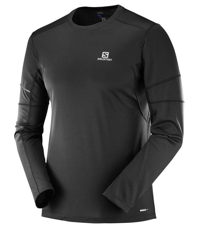 Compra online Camiseta running Salomon Agile LS Hombre Negro en oferta al mejor precio