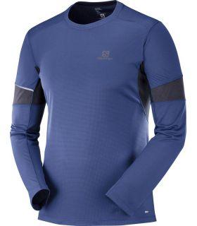 Camiseta running Salomon Agile LS Hombre Azul Medieval. Oferta y Comprar online