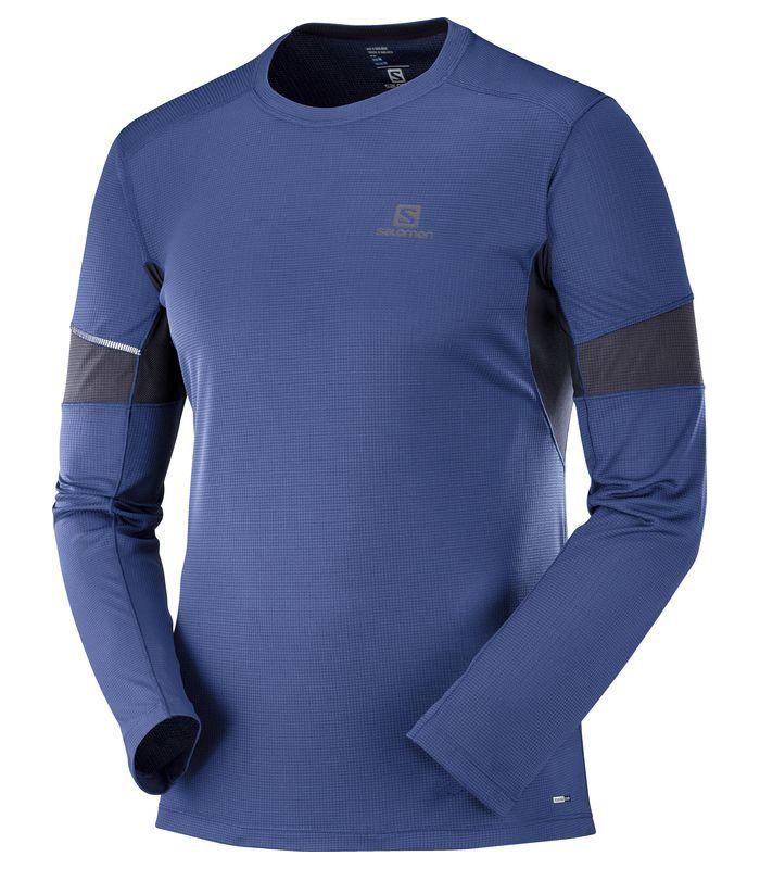Compra online Camiseta Salomon Agile LS Hombre Azul Medieval en oferta al mejor precio