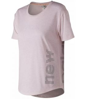 Camiseta New Balance Graphic Heather Tech Tee Mujer Rosa Jaspeado