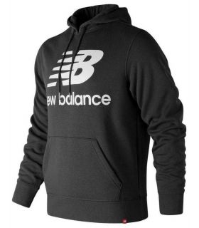 Sudadera New Balance Essentials Brushed Pullover Hoodie Hombre Negro