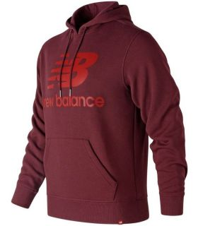 Sudadera New Balance Essentials Brushed Pullover Hoodie Hombre Borgoña