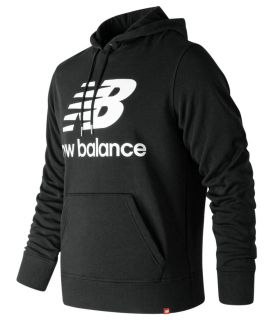 Sudadera New Balance Essentials Stacked Logo Po Hoodie Hombre Negro