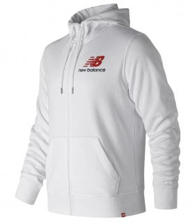 Sudadera New Balance Essentials Stacked Logo Full Zip Hoodie Hombre Blanco