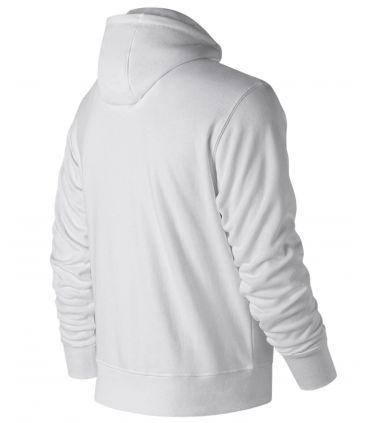 Sudadera New Balance Essentials Stacked Logo Full Zip Hoodie Hombre Blanco