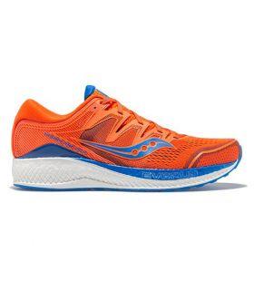 Saucony HURRICANE ISO 5 Naranja y Azul Hombre. Oferta y Comprar online