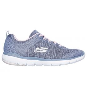 Zapatillas Skechers Flex Appeal 3.0 Mujer Gris Rosa. Oferta y Comprar online