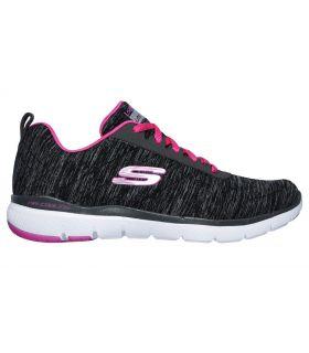 Zapatillas Skechers Flex Appeal 3.0 Insiders Mujer Negro Rosa. Oferta y Comprar online