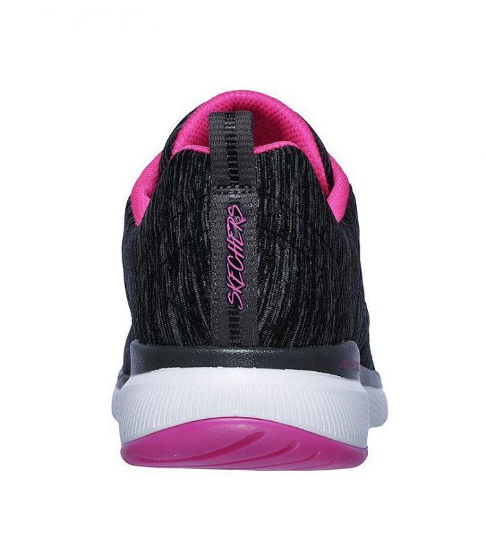 Compra online Zapatillas Skechers Flex Appeal 3.0 Insiders Mujer Negro Rosa en oferta al mejor precio