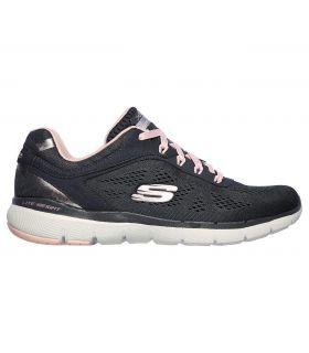 Zapatillas Skechers Flex Appeal 3.0 Moving Fast Mujer Charcoal Rosa