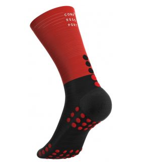 Calcetines Compressport Mid Compression Negro Rojo