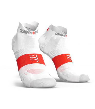 Calcetines Running Compressport Pro Racing Socks V3.0 Low Blanco