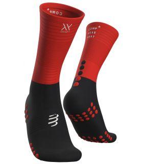 Calcetines Compressport Medios Compresión Negro Rojo