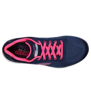 Zapatillas Skechers Flex Appeal 3.0 Moving Fast Mujer Navy Rosa Caliente