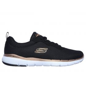 Zapatillas Skechers Flex Appeal 3.0 First Insight Mujer Negro Oro Rosa