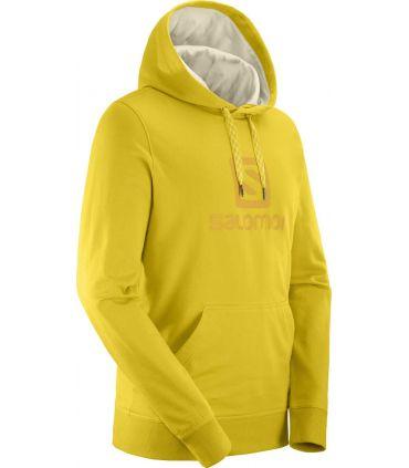 Sudadera Salomon Logo Hoodie Hombre Lemon Curry