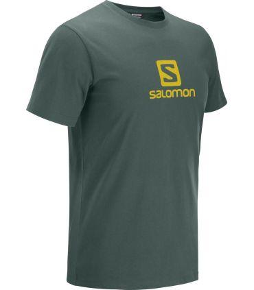 Camiseta Salomon MC Coton Logo SS Tee Hombre Green Gables