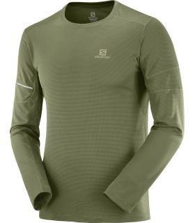 Camiseta running Salomon Agile LS Hombre Olive Night. Oferta y Comprar online