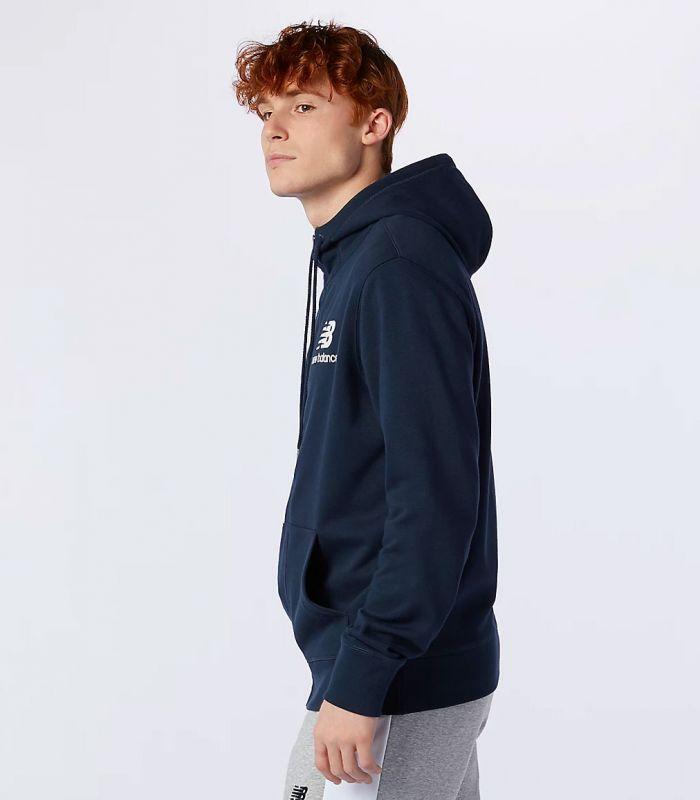 Compra online Sudadera New Balance Essentials Stacked Full Zip Hombre Navy en oferta al mejor precio